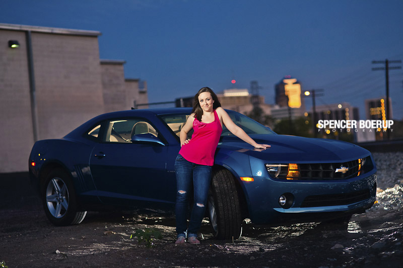 high school senior portraits tucson arizona camaro car nature downtown urban water