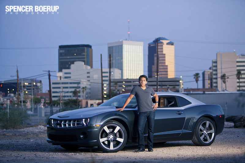 tucson senior photo portrait downtown fashion gq car camaro hot