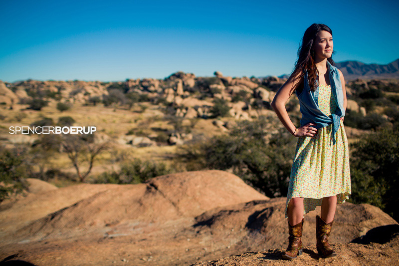 tucson senior portrait nature benson field desert farm tractor vogue model fashion modern dress red